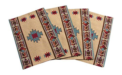 Carrizo Southwestern Design Placemats Set of 4 by RaaKha - Matching table runners, pot mitts and oven mitts are also available Southwestern Native American Indian design Machine Wash Cold. Gentle Cycle. Wash with like colors. Do not use bleach. Lay flat or line dry. Touch up with a warm iron if needed. - placemats, kitchen-dining-room-table-linens, kitchen-dining-room - 51yiNdRlrJL -