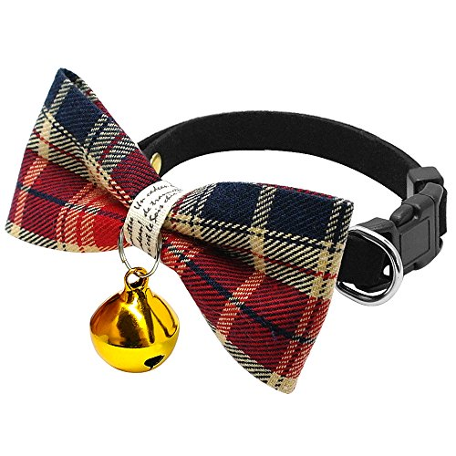 Wylux(TM) Cute Plaid Pet Bell Collar For Cats Small Dogs Puppy Kitten Safety Bowtie Designer Cat Dog Necklace Chihuahua Adjustable 8-11 [ Red ] (Aspen Cat Bell)