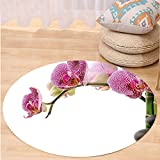 VROSELV Custom carpetMeditation Spa Stones with Orchid and Bamboo Stems Yoga Chakra Zen Spiritual Image for Bedroom Living Room Dorm Fuchsia Green Grey Round 72 inches