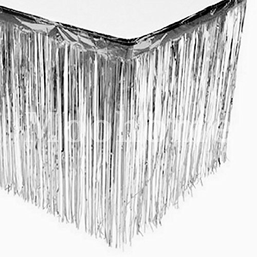 Moohome Foil Fringe Silver Table Skirt 9ft. x 29inch Tinsel Party Table Skirt 108