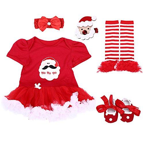 TANZKY Baby Girls' Christmas Onesie Santa Costume Outfits Tutu Dress 5PCs,Santa Claus/Short Sleeve,M for -