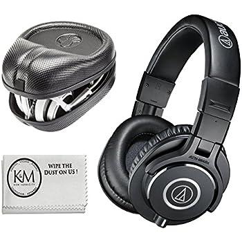 Audio-Technica ATH-M40x Professional Studio Monitor Headphones + Slappa Full Sized HardBody PRO Headphone Case (SL-HP-07)