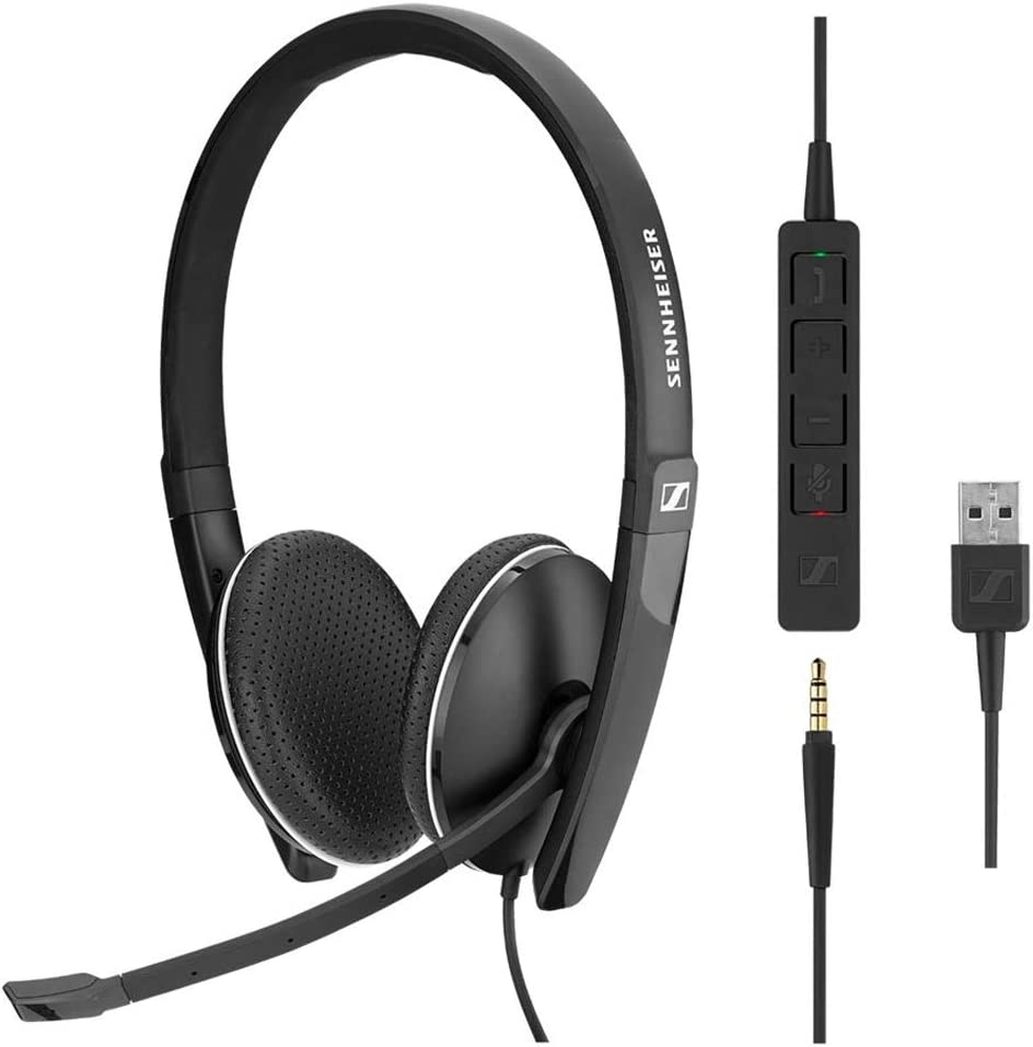 Sennheiser SC 165 USB (508317) - Double-Sided (Binaural) Headset for Business Professionals | with HD Stereo Sound, Noise-Cancelling Microphone, USB Connector (Black)
