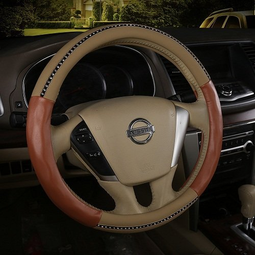 Beautiful Beige Steering Wheel Cover Car Leather Diamond Steering Wheel Cover With Rhinestone 15
