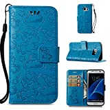 Galaxy S7 Wallet Case,Berry PU Leather Cartoon Unicorn 3D Relief Floral Embossed Folio Flip Protective Cover with Credit Card Holder Kickstand Magnetic Closure for Samsung Galaxy S7 Blue