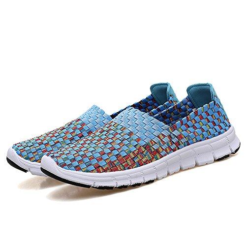 Dearwen Chaussures Tissées Pour Femmes Slip On Sneakers Comfort Chaussures De Marche Légères Bleues