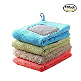 Eanpet Microfiber Dish Cloths Ultra Absorbent Cleaning Dish Rags Cloth and Bar Kitchen Towels With Poly Scour Side 12 x 12 inch Set of 12
