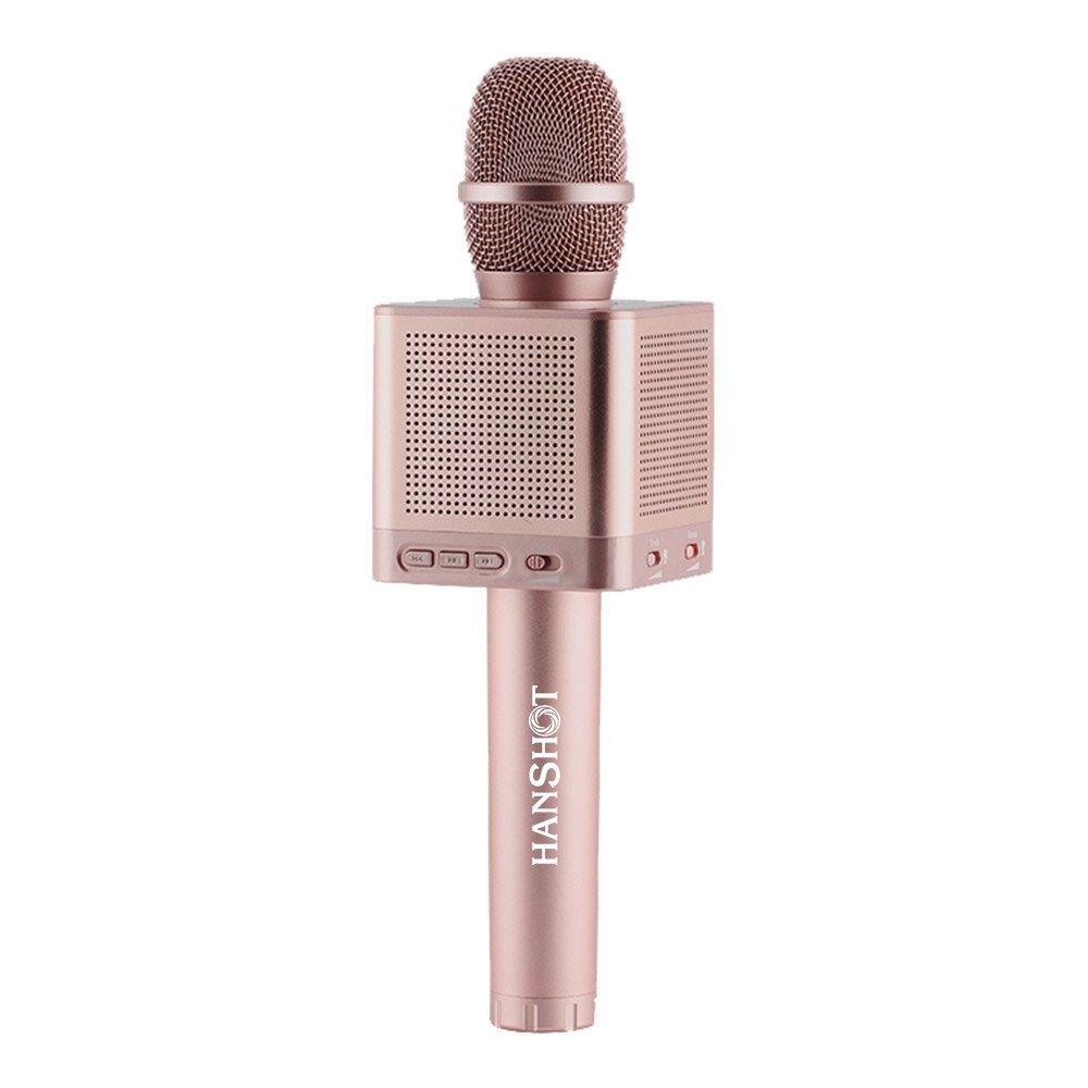 Hanshot Pro Micrófono portátil de karaoke Bluetooth recargable con altavoces integrados compatibles con aplicaciones de