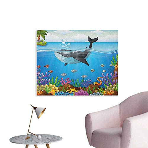 Anzhutwelve Whale Wallpaper A Massive Whale The Master of The Oceans Themed Around Planet Nature Poster Print Dark Blue Black and Orange W28 -