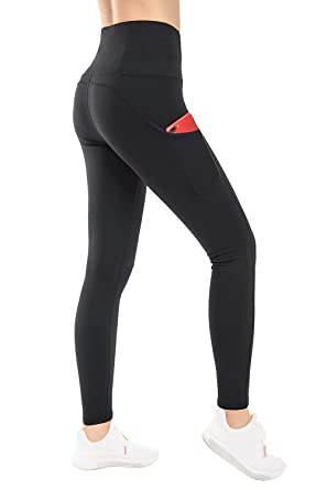 eb603c108e35f THE GYM PEOPLE Thick High Waist Yoga Pants with Pockets, Tummy Control  Workout Running Yoga