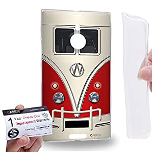 Case88 [Nokia Lumia 1520] Gel TPU Carcasa/Funda & Tarjeta de garantía - Art Fashion Red Retro Bus Mini Van Art1204