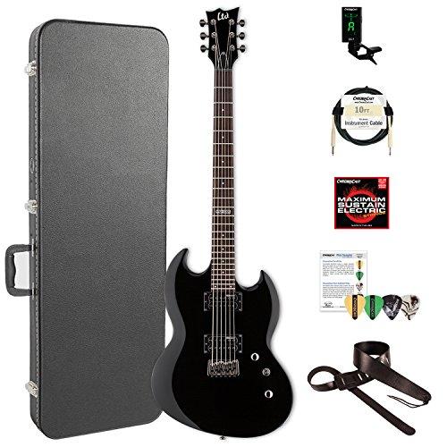 ESP LVIPER200BBLK-KIT-2 Viper Series VIPER-200B Electric Baritone Guitar, Black Esp Viper Baritone