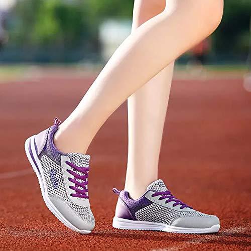 Tulle Punta Light Sneakers Rojo Mujer Zapatos Blue Cordones Talón Comfort Caminar Azul de Claro Rosa Claro con Plano Redonda para Spring ZHZNVX Zapatos Summer Negro C0qxOgCtw