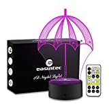 Easuntec Night Light Umbrella Night Light 7 Colors Change with Timer Remote Perfect All-Night Companion for Kids Cool Gifts for Kids(Umbrella)