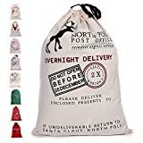 """Fannybuy Santa Sack Personalized Christmas Gift Bags Large Drawstring Canvas Burlap Bag Drawstring Delivery Extra Large Size 27.5""""x19.5"""" (A)"""