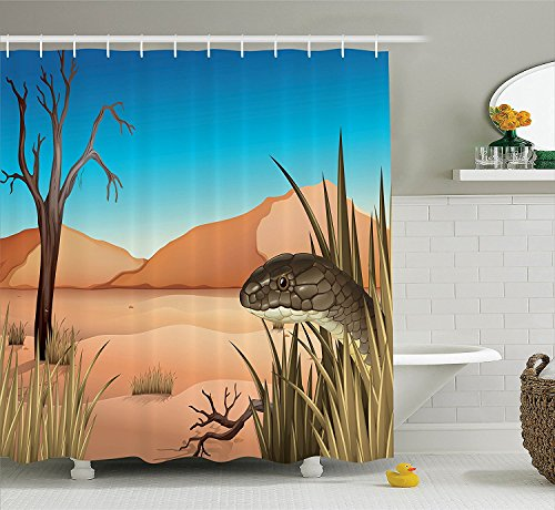 [Reptile Decor Shower Curtain Set Grumpy Snake Looking from Grass at Desert Tropical Nature Poison ReptilesWildlife Home Bathroom Accessories] (Grumpy Cat Costume Ideas)