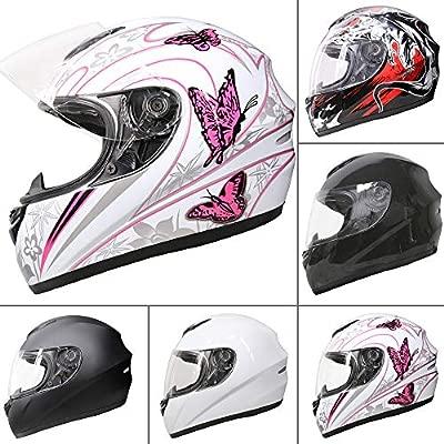 Leopard LEO-819 Casco Moto Integral Motocicleta Ciclomotor Scooter ECE Homologado Casco de Moto Integrales Scooter Mujer Hombre Adultos, Mariposa ...