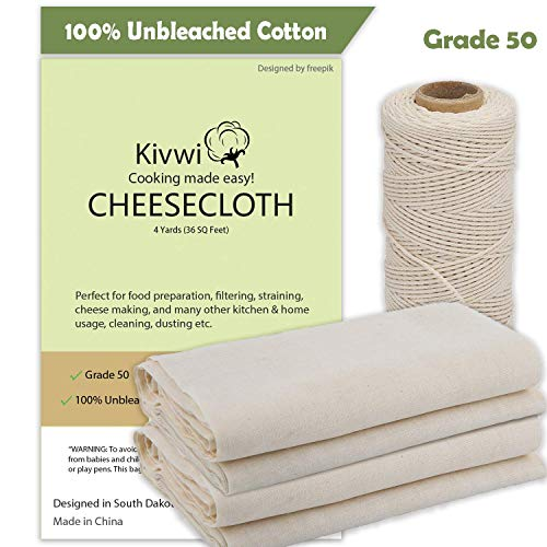 Cheesecloth, Grade 50, 36 Sq Feet, Reusable, 100% Unbleached Cotton Fabric, Ultra Fine Cheesecloth for Cooking - Nut Milk Bag, Strainer, Filter (Grade 50-4Yards) (Cotton, Grade 50 with cooking twine) by Kivwi