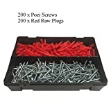 400 x Pozi Screws & Red Raw Fixing Plugs, Twin Thread 8 x 1½'' Countersunk