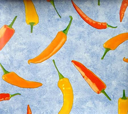 Wonderful MIXED CHILLI PEPPERS PVC OILCLOTH VINYL FABRIC KITCHEN CAFE BAR TABLE  WIPECLEAN PICTURE TABLECLOTH PER METRE