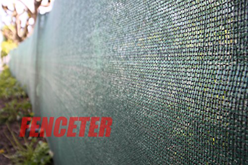 Fenceter Commercial Grade 6'x50' Dark Green Fence Screen Privacy Screen Mesh Fence Shade Cover Windscreen Aluminum Grommet