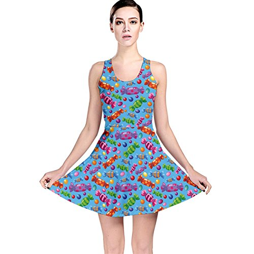 Colorful Of A Pattern Candies Blue Reversible Skater Dress