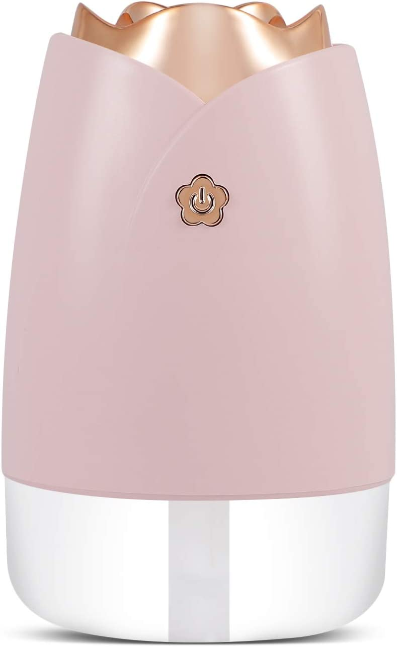 Super Quiet Portable Mini Humidifier,230mL Small Cool Mist Humidifier With Seven Colors Night Light,Desktop for Baby Bedroom,Travel,Office,Home,No Water Auto Shut-Off,2 Mist Modes- Pink