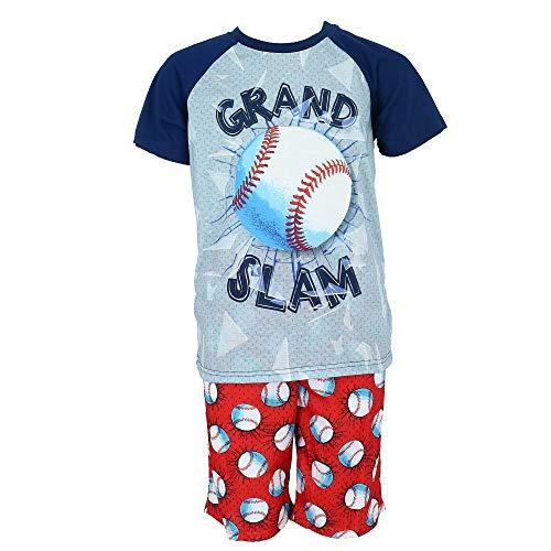Rene Rofe Boy's Raglan Sleeve Tee and Shorts Pajama Set, Medium 8/10, Baseball Grey