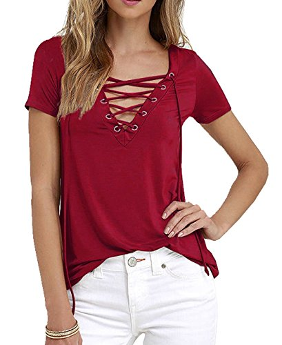 Minetom Vin Shirt Manches Sexy Bandage Chemisier V Tops Lacets Femme rouge Blouses Encolure Courtes T OXxqfOwnr