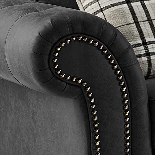Faux Suede Leather Envie Oakland Corner Sofa Dark Grey, 2 Seater
