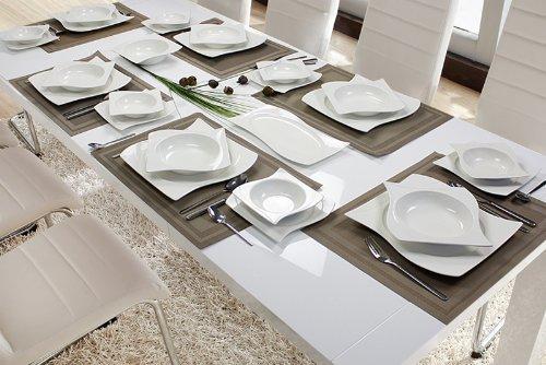 Modernes Geschirr Set 56 teilig tafelservice ess service porzellan set geschirr eckig 12