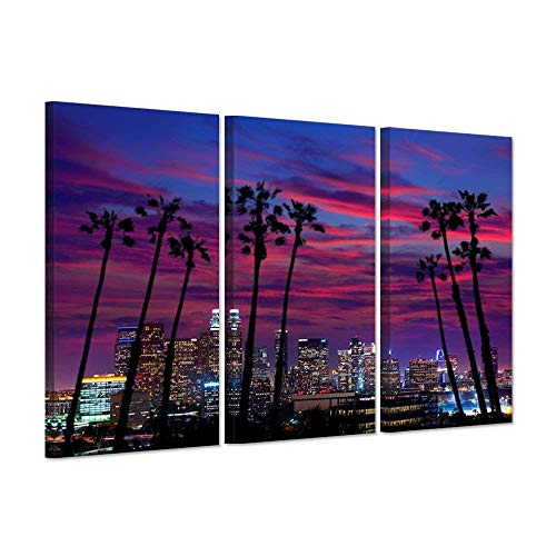 - Hello Artwork - 3 Piece Canvas Purple Wall Art USA Los Angeles Night City Lights Cityscapes With Plam Trees Silhouette Over Glow Sky Picture Print On Canvas Stretched For Home Decor