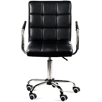 Yaheetech Modern Faux Leather Home Office Chair Swivel Computer Desk Chair  On Wheels Black