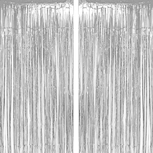 (Silver Tinsel Foil Fringe Curtains Winter Wonderland Baby Shower 1st Birthday Wedding Happy New Years Christmas Graduation Party Decor Photo Booth Props Backdrops Decorations,)