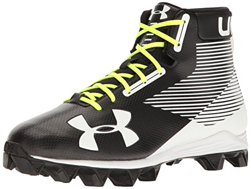 Under Armour Men's Hammer Mid RM Football Shoe, Black (011)/White, 6.5