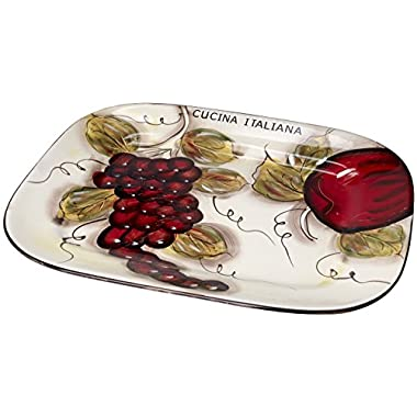 Original Cucina Italiana Ceramic Rectangular,15 Inch Serving Tray White with Fruit Décor