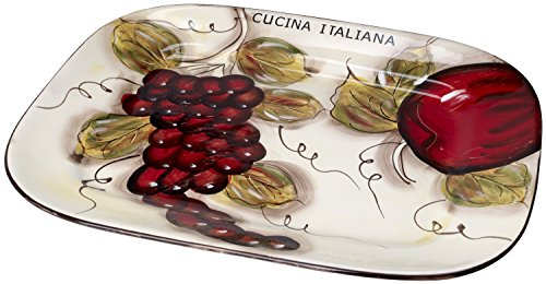 Glazed Ceramic Serving Platter (Cucina Italiana Ceramic Serving Platter, Tray Rectangle 15 x 12 Inch)