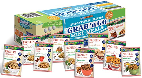 Kay's Naturals Protein Grab n' Go Mini Meals, Variety Pack, Gluten-Free, Low Carbs, Low Fat, Diabetes Friendly All Natural Flavorings, (Pack of 15)