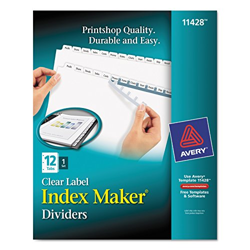 Avery Print & Apply Clear Label White Tab Dividers, Index Maker Easy Apply Strip, 12-Tab Divider Set (11428)