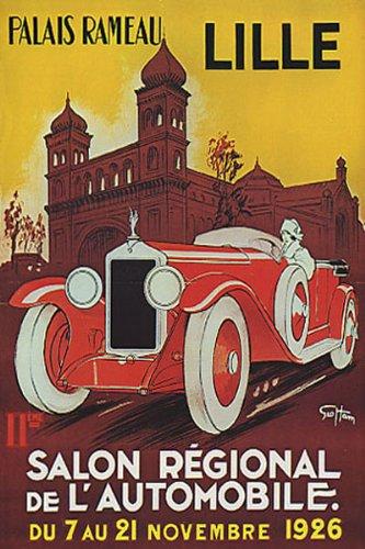 1926 Salon Automobile Lille Car France French Large Vintage