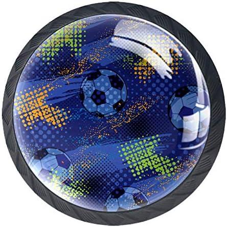 Keukenkast KnoppenVoetbal BlauwKnoppen voor Dressoir Laden voor Kast Garderobe Badkamer of KantoorPack van 4