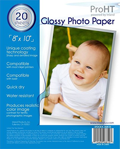 Inland Products 20 Sheets of Glossy Photo Paper (8X10)