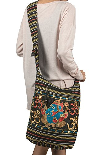 Fair Trade Elephant (Women Hobo OM Black Cross Body Shoulder Bag Elephant Embroidered School Everyday Shopping Casual Lightweight)
