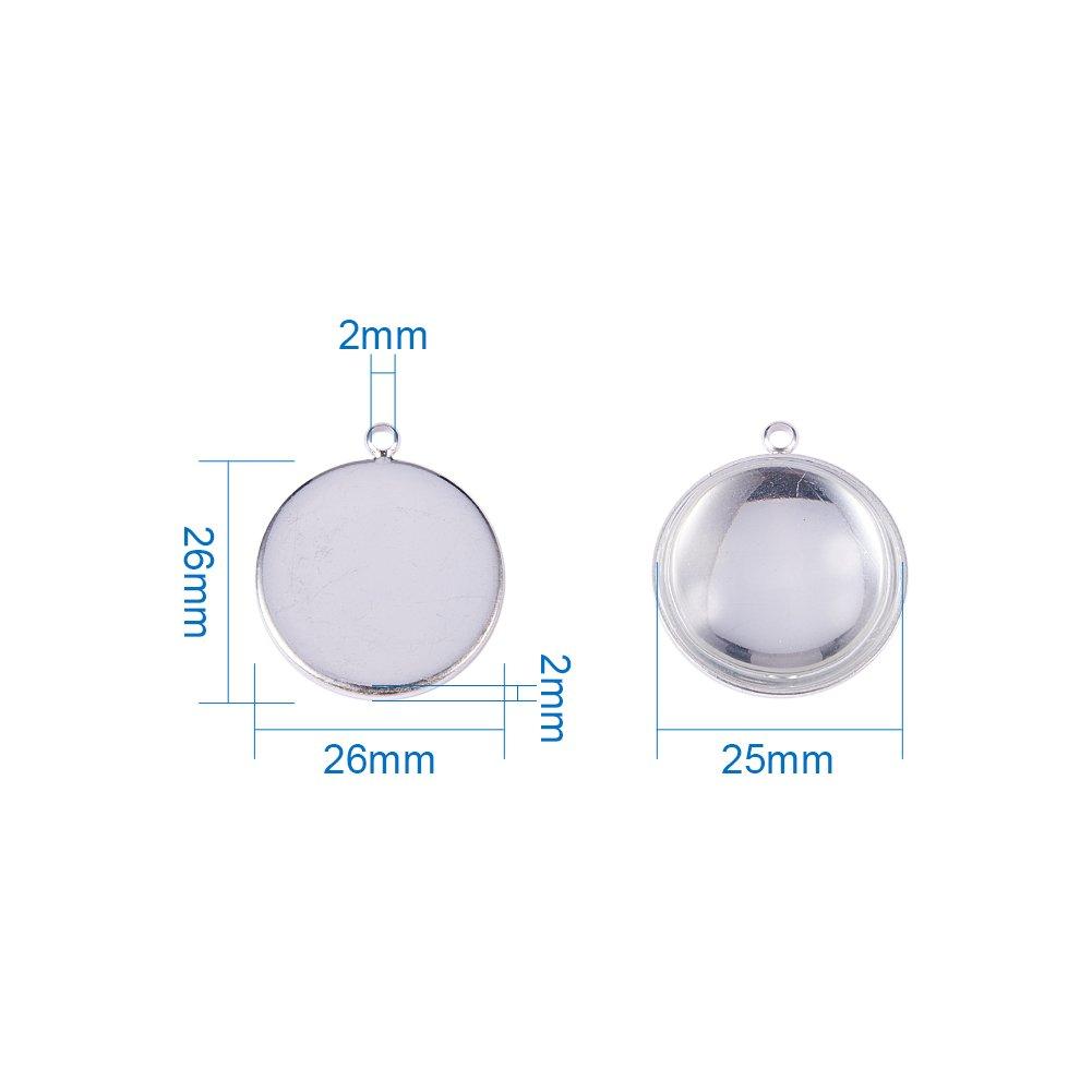 sans Nickel Lot DE 10 Kit Supports Pendentif Trou: 2mm; Verre: 25x7.4mm Cabochons en Verre 25mm Transparent Dome pour Bijou Argent PandaHall Pendentifs: 26x2mm