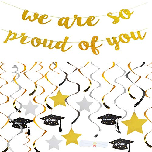 30 Count Graduation Hanging Decorations Swirls Kit DIY | 1 Pc We are So Proud of You Banner | Hanging Star Swirls - Gold, Black and Silver | Hanging Ceiling and Door Decoration for Graduation Party Supplies 2019 High School Prom Grad Party]()