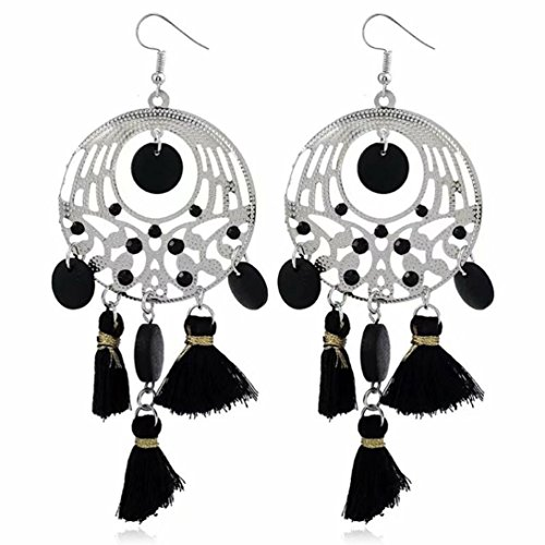 Tassel Earrings, Gorgeous Retro Bohemian Tassel Hook Earrings Vintage Ethnic Jewelry Earrings For Women (Black, Alloy) ()