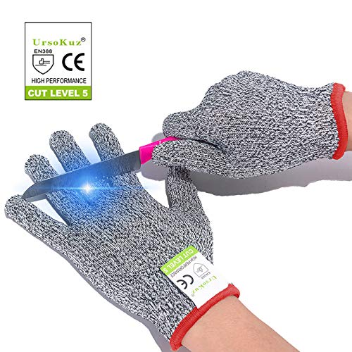 Cut Resistant Gloves for Kids Full Size (3-12 Years) - Food Grade Safety Cut Gloves for Meal Prep Crafts and Outdoors - EN388 Level 5 Protection from Knives Scissors Vegetable Peelers, Fits Both Hands