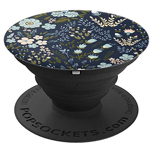 Light Blue Olive Green Flowers Floral Pattern Custom Design - PopSockets Grip and Stand for Phones and Tablets ()