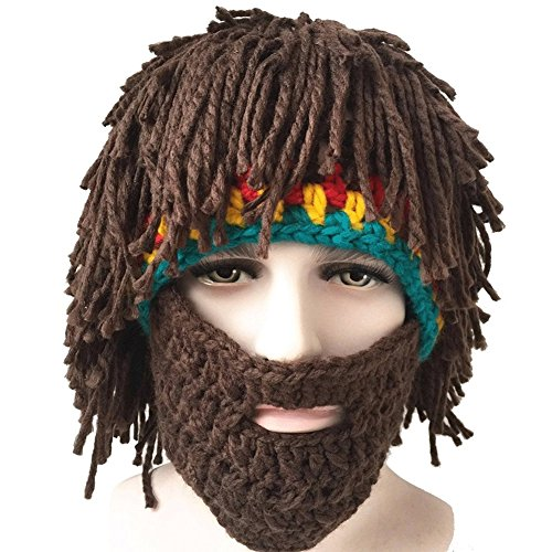 (Duraplast Kids Knitted Bearded Hats for Halloween Handmade Wig Winter Ski)