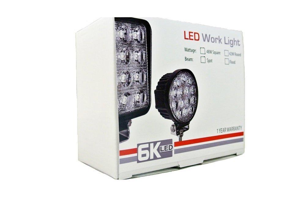 6KLED LED-342S Universal LED Spot Light Round Off Road Lighting 12V 24V ATV Lighting 8 Degree Deot Light Side-by-Side Can-Am UTV 4x4 Desert Truck Fishing Boat 42W